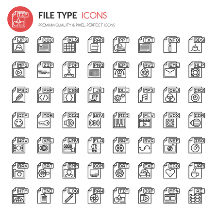 File Type Icons , Thin Line and Pixel Perfect Icons Stock Vector - 68423041