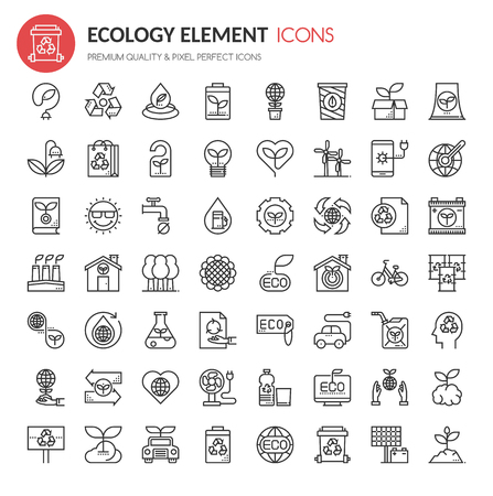 technology symbols metaphors: Ecology Elements , Thin Line and Pixel Perfect Icons