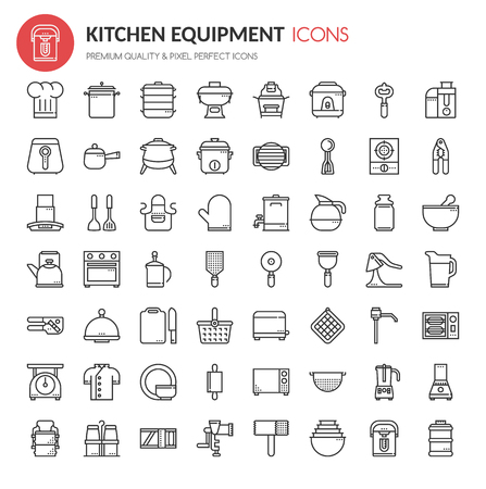 Kitchen Equipment Icons , Thin Line and Pixel Perfect Icons Vettoriali