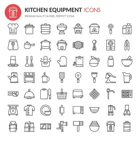 Iconos de equipo de cocina, línea delgada y Pixel Iconos perfectos Ilustración de vector