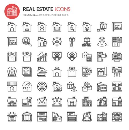 Real Estate Icons, Dunne Lijn en Pixel Perfecte Pictogrammen