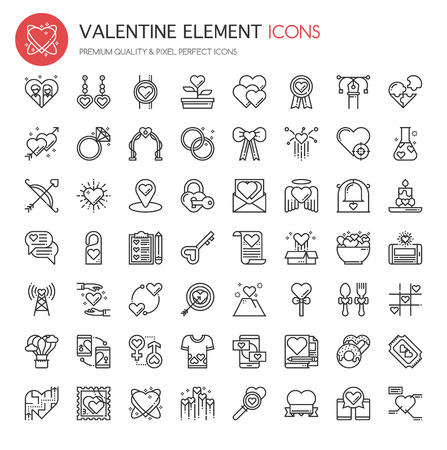 Valentine Element Icons, Thin Line and Pixel Perfect Icons