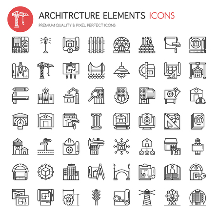 Architettura Elementi, sottile linea e Pixel Perfect Icone