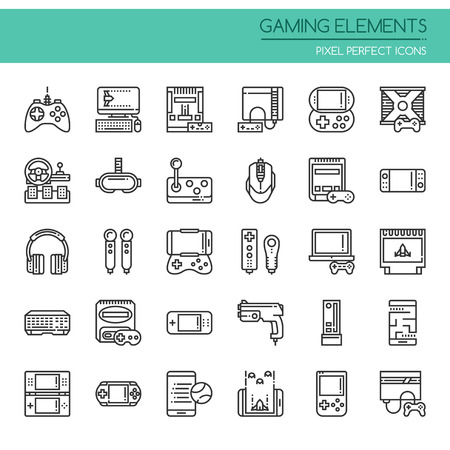 Gaming Elements , Thin Line and Pixel Perfect Icons