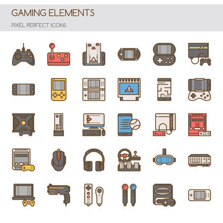 Elementy do gier, cienkie linie i doskonałe piksele Ilustracje wektorowe