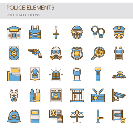Police Elements , Thin Line and Pixel Perfect Icons Illustration