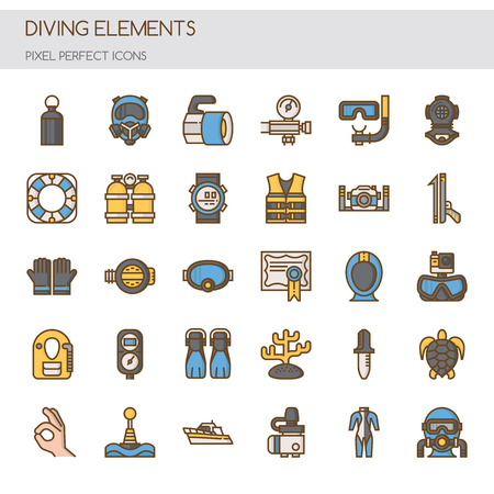 oxygen transport: Diving Elements , Thin Line and Pixel Perfect Icons