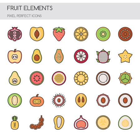 tropical: Fruit , Thin Line and Pixel Perfect Icons
