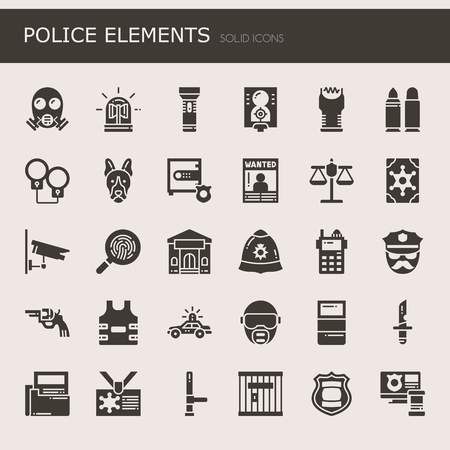 electroshock: Police Elements , Thin Line and Pixel Perfect Icons Illustration