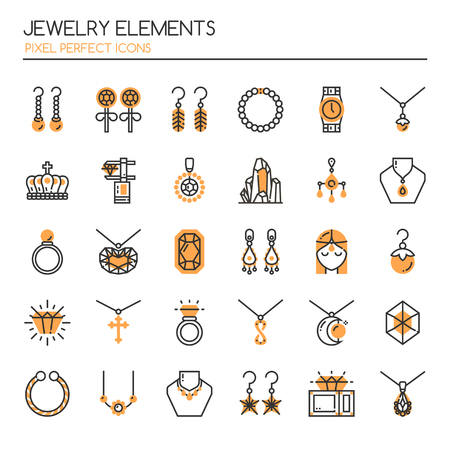 earrings: Jewelry Elements , Thin Line and Pixel Perfect Icons Illustration