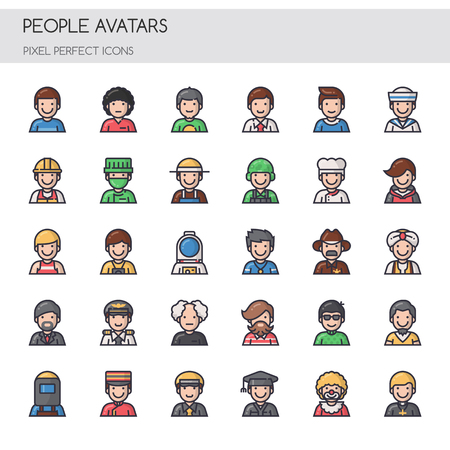 construction: People Avatars, Thin Line and Pixel Perfect Icons.