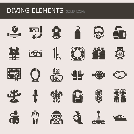 Diving Elements, Thin Line and Pixel Perfect Icons.