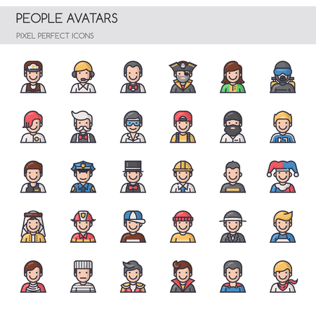 pixel perfect: People Avatars, Thin Line and Pixel Perfect Icons.