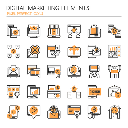 business sign: Digital marketing Elements, Thin Line and Pixel Perfect Icons. Illustration