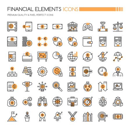 Financial Icons, Thin Line und Pixel Perfekte Icons Standard-Bild - 77395706