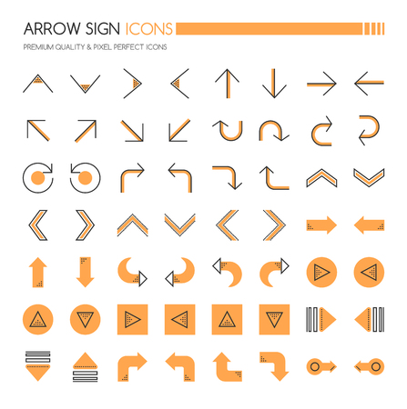 Arrow Sign Icons , Thin Line and Pixel Perfect Icons Vector Illustration
