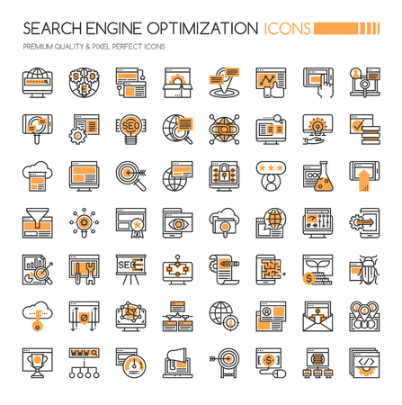engine: Search Engine Optimization Icons, Thin Line and Pixel Perfect Icons