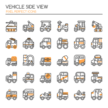 Vehicle Side View , Thin Line and Pixel Perfect Icons