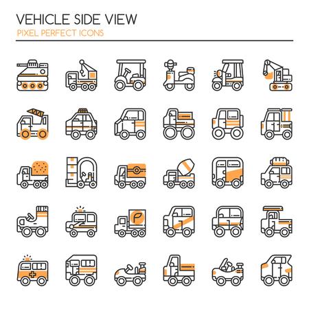 Vista lateral del vehículo, línea delgada y píxeles Iconos perfectos Foto de archivo - 77395606
