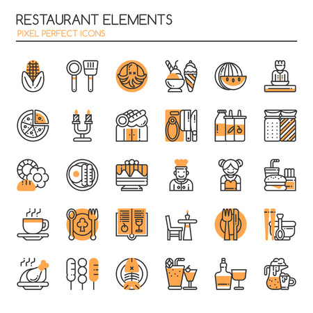 delivery service: Restaurant Elements , Thin Line and Pixel Perfect Icons