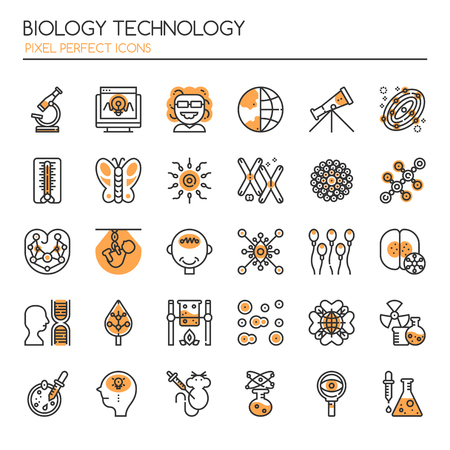 virus cell: Biology Technology Elements , Thin Line and Pixel Perfect Icons Illustration