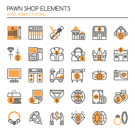 pawn shop: Pawn Shop Elements , Thin Line and Pixel Perfect Icons
