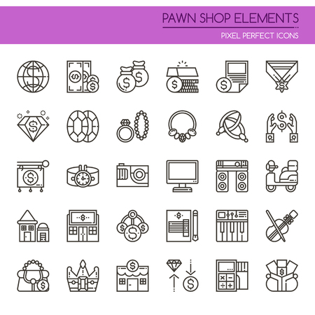 Pawn Shop Elements , Thin Line and Pixel Perfect Icons