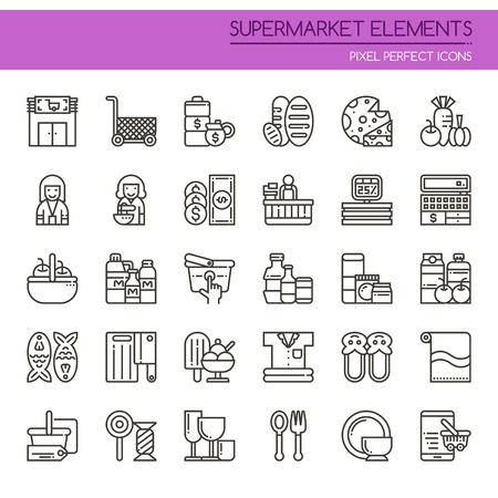 shopping malls: Supermarket Elements , Thin Line and Pixel Perfect Icons Illustration