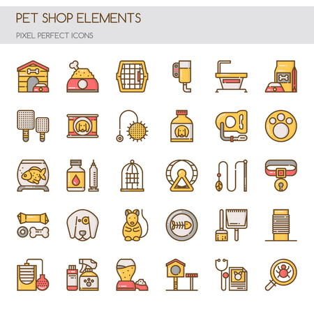 cat carrier: Pet Shop Elements , Thin Line and Pixel Perfect Icons