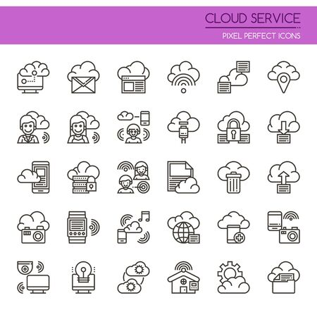 Cloud Service , Thin Line and Pixel Perfect Icons 免版税图像 - 78609457