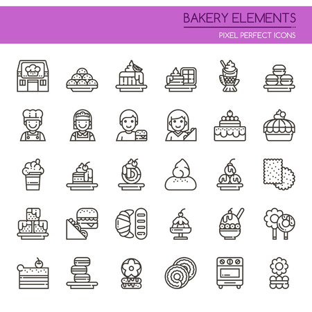 customer: Bakery Elements , Thin Line and Pixel Perfect Icons Illustration