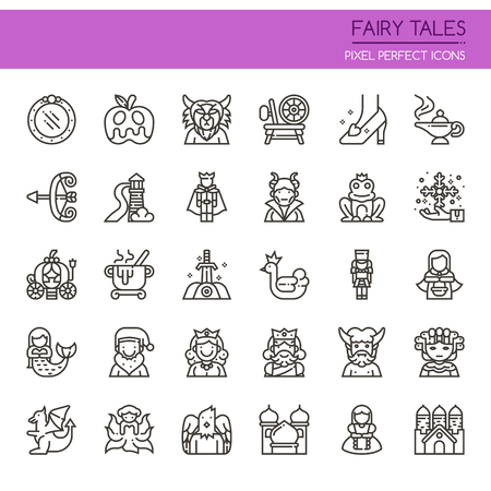 frog queen: Fairy Tales Elements. Thin Line and Pixel Perfect Icons