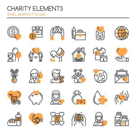give: Charity Elements. Thin Line and Pixel Perfect Icons Illustration