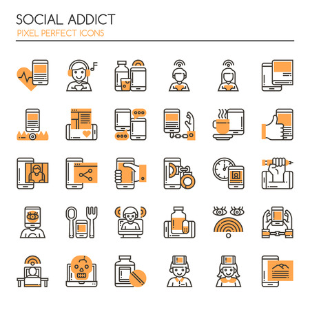 dependence: Social Addict. Thin Line and Pixel Perfect Icons