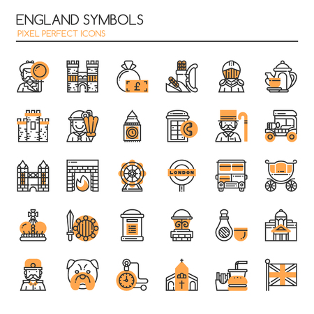 pixel perfect: England Symbols. Thin Line and Pixel Perfect Icons