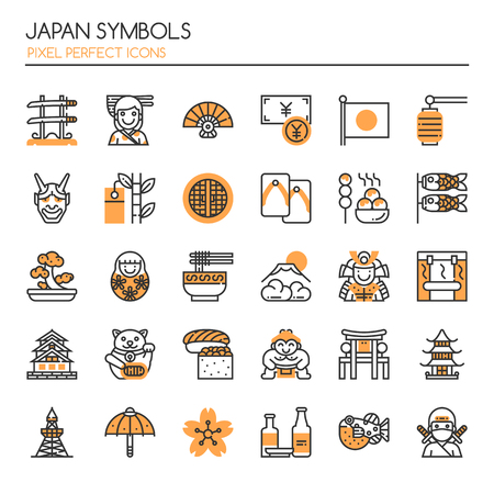 Japan Symbols , Thin Line and Pixel Perfect Icons