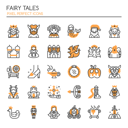 Fairy Tales Elements. Thin Line and Pixel Perfect Icons