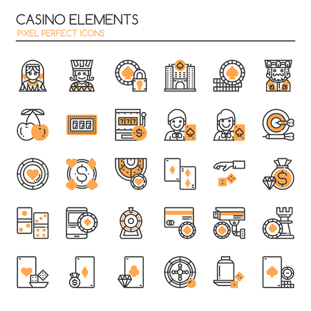 wheel of fortune: Casino Elements. Thin Line and Pixel Perfect Icons