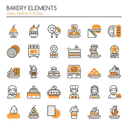 Éléments de boulangerie. Icônes fines et Pixel Perfect Icônes