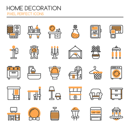modern interior: Home Decoration , Thin Line and Pixel Perfect Icons
