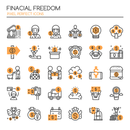 debt goals: Financial Freedom , Thin Line and Pixel Perfect Icons Illustration