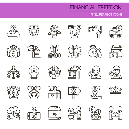 Financial Freedom , Thin Line and Pixel Perfect Icons Ilustração