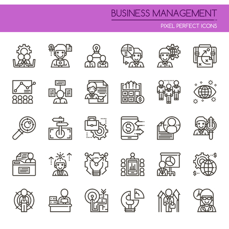 communication icons: Business Management Elements , Thin Line and Pixel Perfect Icons