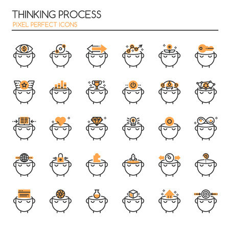 personality development: Thinking Preocess , Thin Line and Pixel Perfect Icons Illustration