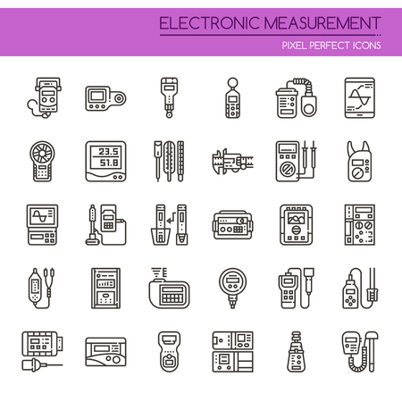 Electronic Measurement Elements , Thin Line and Pixel Perfect Icons