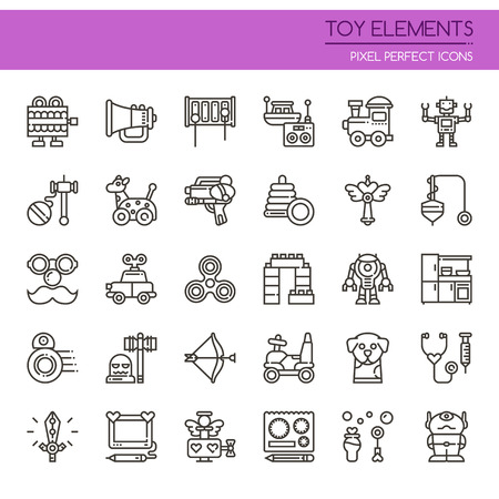 top gun: Toy Elements , Thin Line and Pixel Perfect Icons Illustration