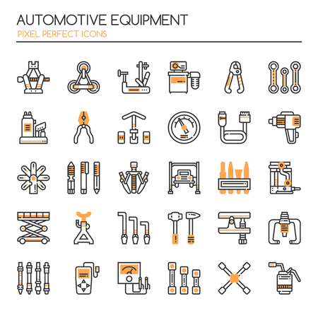 car: Automotive Equipments , Thin Line and Pixel Perfect Icons Illustration