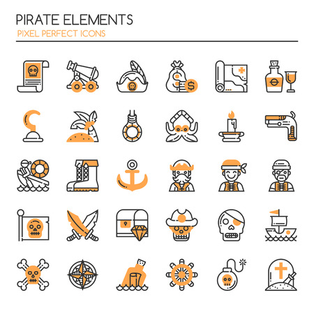 ship anchor: Pirate Elements , Thin Line and Pixel Perfect Icons