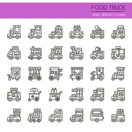 car: Food Truck , Thin Line and Pixel Perfect Icons