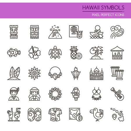 Hawaii Symbols , Thin Line and Pixel Perfect Icons Illustration